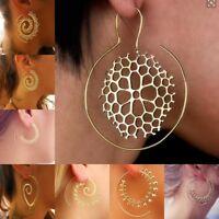 Earrings Boho Spiral Brass Gypsy Tribal Ethnic Festival Jewellery Indian Hoops
