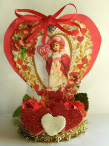 VALENTINE altered art mixed media Vintage reproduction Decoration Collectible