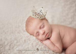 Newborn Baby Birthday Xmas Gift ,1 Purple Diamante Mini Rhinestone Crown Tiara