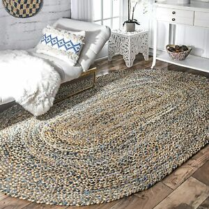 Oval Rug Natural Denim Jute Braided Style Handmade Carpet Rustic Look Area Rug