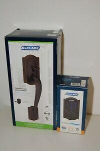 Schlage Connect Z-Wave Plus Smart Deadbolt & Handleset Accent Lever Aged Bronze