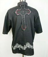Indigo Thirty Mens Button Down Shirt X-Large Short Sleeve Embroidery Cross
