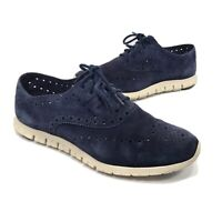 Cole Haan Womens Zerogrand Suede Oxford Shoes Size 8 B Navy Blue