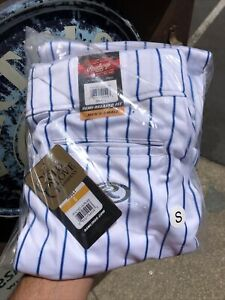 Rawlings Mens Semi-Relaxed Baseball Pants White Royal Blue Pinstripe PIN150-WR88