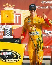 JOEY LOGANO signed NASCAR 8X10 TROPHY photo with COA A