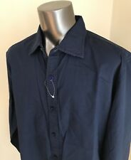 Ganesh Men's Navy Cotton Soft Embroidery Design Shirt Size L NWT $128