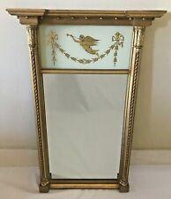 "Vintage F. J. Newcomb French Glass Trumeau Wall Wood Mirror 37"""