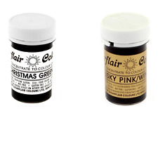Sugarflair Paste Gel Edible Food Colouring Colours Icing Xmas Green & Dusky Pink