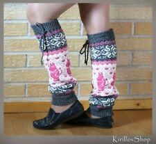 Knitted leg warmers made of fine natural sheep wool with a pattern Knitted women