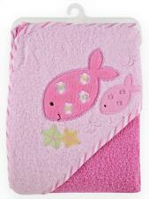 Just Born Terry Hooded Baby Bath Towel - PINK SEA Girl Fish Theme NEW