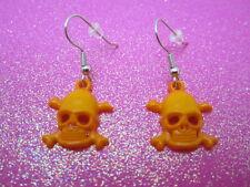 Orange Skull Cross Bone Earrings