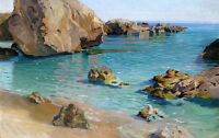 Dream Oil painting seascape Calm sea with Small waves and huge rocks by beach