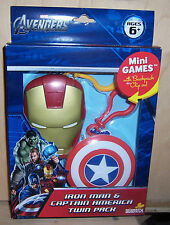 Marvel Avengers IRON MAN & CAPTAIN AMERICA Mini Games With Backpack Clip On NIB