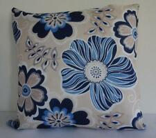 Hamptons Blues Biege Grey White Flowers Double Sided Cushion Cover 45cm