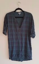 splendid blouse tunic extra small blue plaid long sleeve roll-up sleeves v-neck