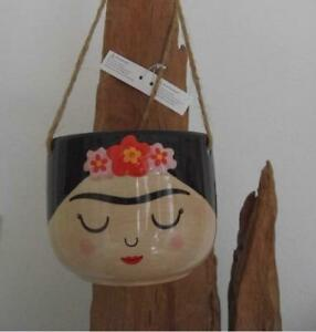 FAB FRIDA KAHLO SMALL FACE CERAMIC HANGING FLOWER PLANT POT PLANTER COLLECTABLE
