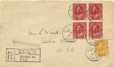 Imperf margin Block of 4 3c Admiral + 1c imperf Registered 1stclass cover Canada