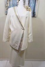 MILANO Women 2PC Stunning Cream Gold Skirt Suit Size 18
