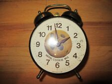 9V/RARE WIND UP ALARM COCK/NESTLE TOLL HOUSE COOKIE CLOCK/METAL CASE/WORKS!