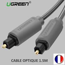 CABLE OPTIQUE NUMERIQUE AUDIO HAUT DE GAMME TOSLINK PLAQUE OR SPDIF 1.5M