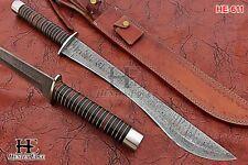 HUNTEX Custom Handmade Damascus 53 cm Long Full Tang Pakka Wood Splitter Sword