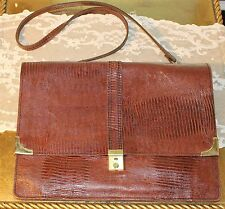 Vintage Alligator/ Crocodile Leather Briefcase Satchel Bag Purse