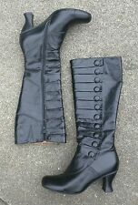 MIZ MOOZ ASTOR MILITARY INSPIRED BLACK LEATHER BUTTON ZIP BOOTS 7 heels shoes