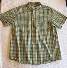 Men's Columbia Ruffled Plaid Shirt Green & Yellow Size XL Extra Large Genuine!
