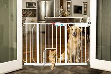 Dog Gate Walk-Thru Indoor Wide Pet Adjustable Door Safety Fence White Carlson