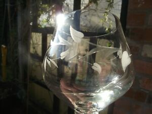 Vtg Cut Etched Foliate Convolvulus Bindweed Leaves Brandy Balloon Snifter Glass