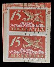 Pair of 1923 Switzerland 15c Airmail Stamps C3! U Used! VF Basel Postmark 1929!
