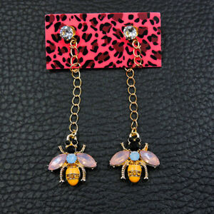 Betsey Johnson Yellow Enamel Rhinestone Lovely Bee Women's Ear Stud Earrings