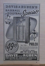1937 newspaper ad for Philco Radio, 1938 model 8X, with Glowing Beam Stat.Finder