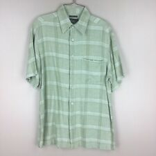 Marc Edwards Washable Linen Medium Green Short Sleeve Button Up Shirt