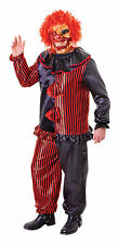 SCARY ZOMBIE CLOWN COSTUME WITH MASK HALLOWEEN FANCY DRESS