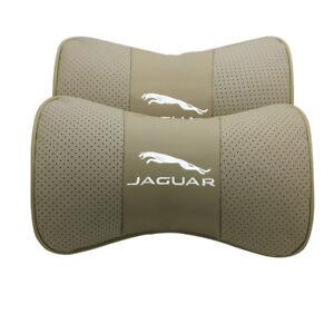 2Pc Beige Real Leather Car Seat Neck Pillow Car Headrest Fit For Jaguar Auto