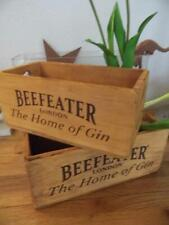 PAIR OF GRADUATING ADVERTISING WOOD CRATES BEEFEATER LONDON GIN STORAGE BOXES