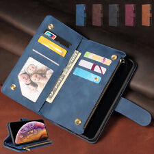 New Retro Leather Zipper Card Wallet Case Cover For Moto G7 Play Plus P40 Power