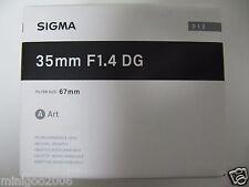NEW Sigma 35mm F1.4 DG HSM Art (35 mm F/1.4 DG HSM) Zoom Lens Sony A-mount*Offer