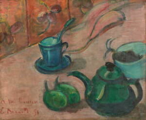 Emile Bernard Still life with teapot cup and fruit Poster Giclee Canvas Print