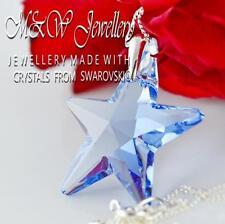 925 Silber Halskette Anhänger Kristalle von Swarovski ® * Star * 28mm Light Sapphire