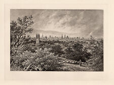 "1800s EDWARD HULL Antique Print ""View of Oxford from Headington Hill"" SIGNED COA"