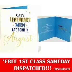 Men Born In August Birthday Greeting Card - 6 x 7 Inches - Designer luxury