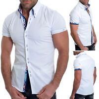 Mens Short Sleeve Shirt Smart Classic Collar Cotton White Blue Check Fabric Slim