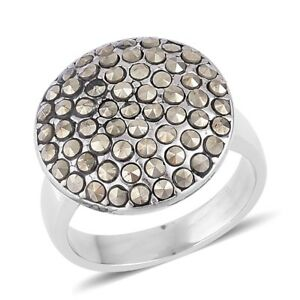 Swiss Marcasite Stainless Steel Cluster Ring (Size 10.0)  10.00ct   #JR207