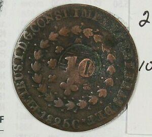 Rare 1825-C 20 REIS Km-375.1 Counter-Stamp 10 REIS Km-424.1 BRAZIL.