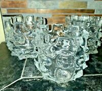 Vintage Blown Glass Teapot Warmer /Plate or Candle Holder Set of 3