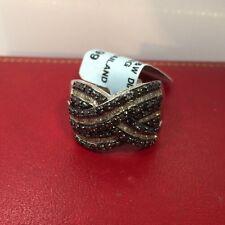 New Sterling Silver 1 Carat Black Diamond Pave Criss Cross Cigar Wedding Ring 7