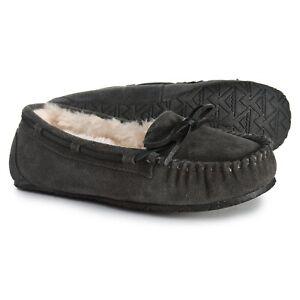 MINNETONKA Allie Original Suede Cozy Moccasin Slippers Women's Size 11 Charcoal