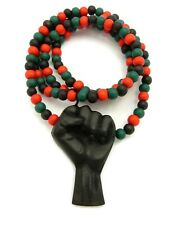 NEW BLACK POWER FIST WOODEN NECKLACE